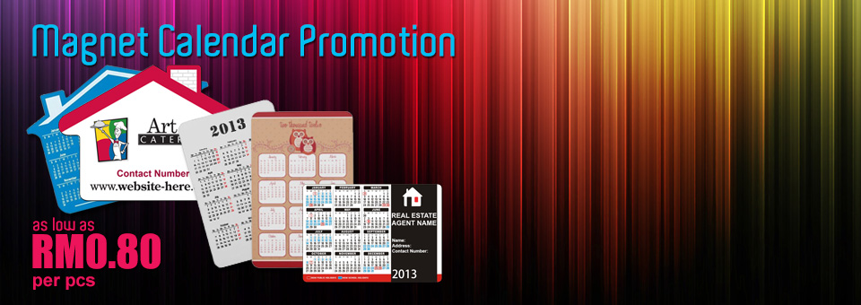 Magnet Calendar Promotion as Low as RM0.80 per pcs
